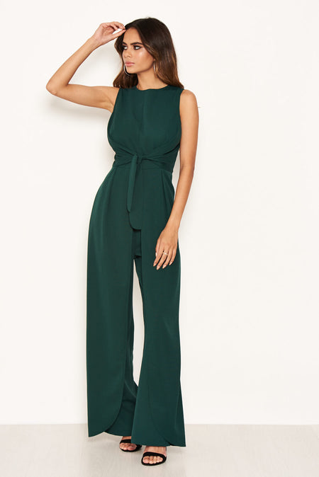 Red One Shoulder Split Sleeve Jumpsuit