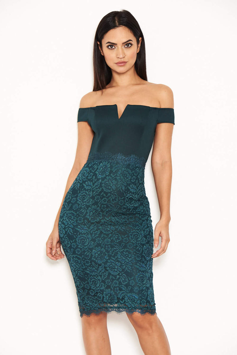 Teal Notch Front Lace Detail Midi Dress