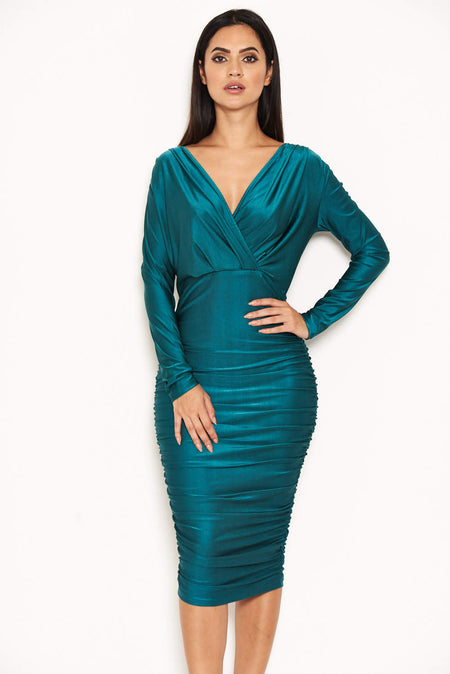 Teal Strappy Lace Midi Dress