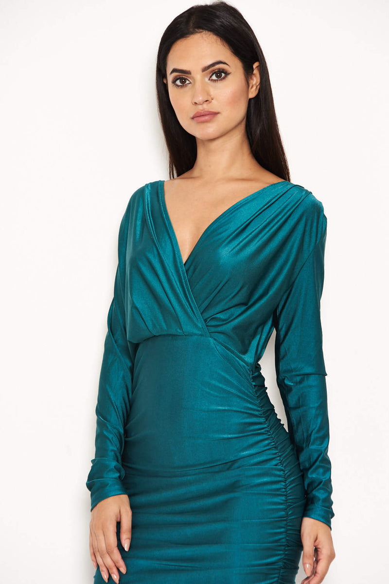 Teal Ruched Wrap Dress