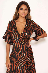 Tiger Print Wrap Dress With Frill Hem And Sleeves