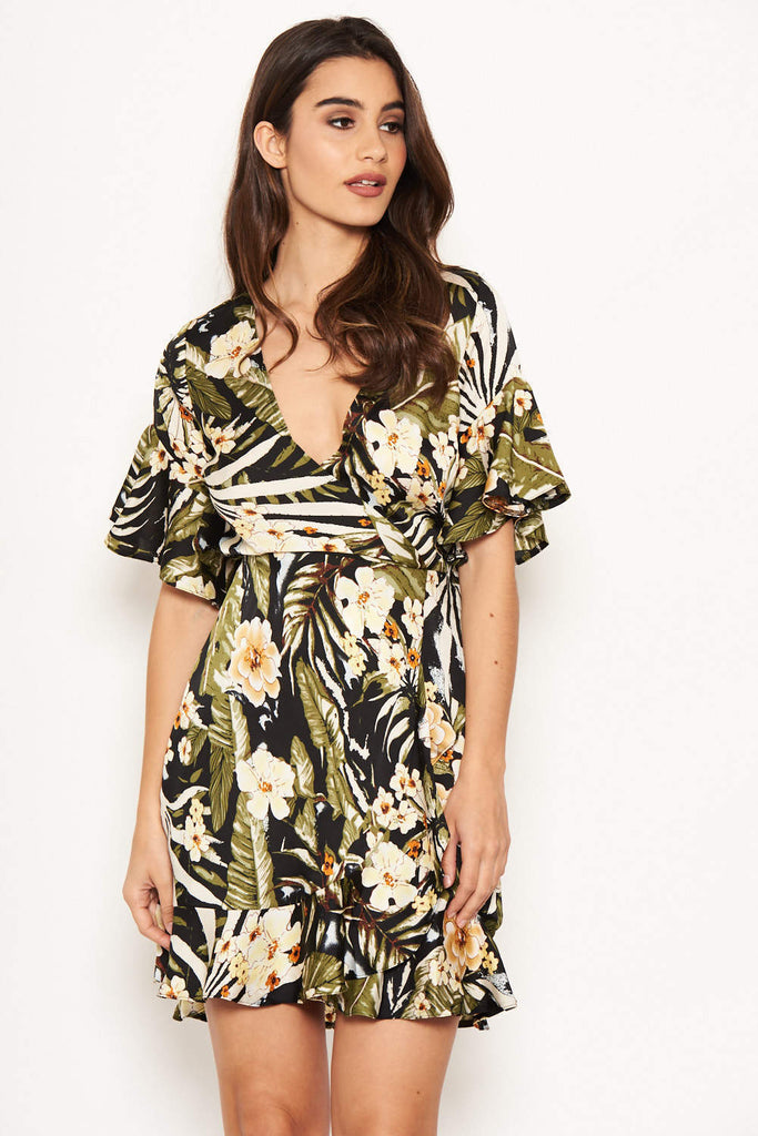 Tropical Frill Detailed Wrap Dress