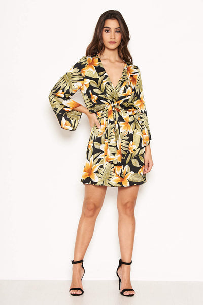 Tropical Knot Front Day Dress
