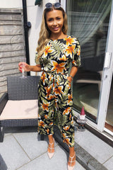 Tropical Print Belted Jumpsuit