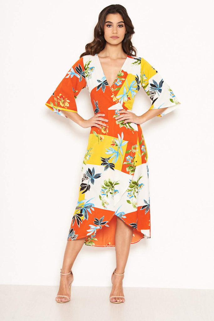 Tropical Printed Midi Dress