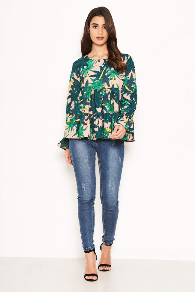 Tropical Printed Peplum Tiered Top