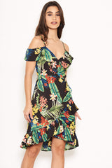Tropical Strappy Frill Wrap Dress