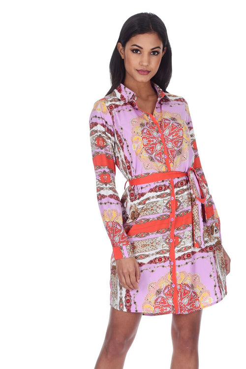 Lilac Patterned Shirt Dress