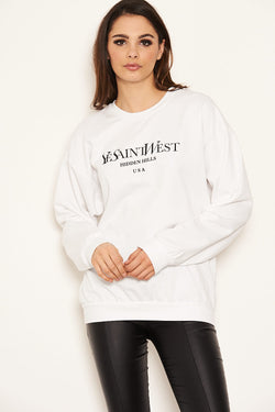 White Slogan Printed Sweatshirt