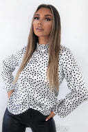 White Polka Dot Long Sleeve Top