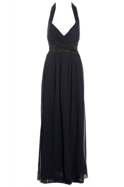 Jewel Halter Neck Maxi Dress
