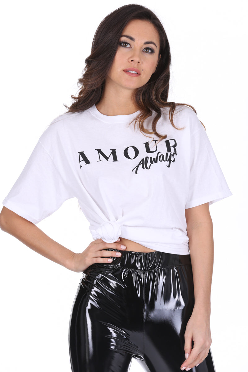 White Amour Slogan T-Shirt