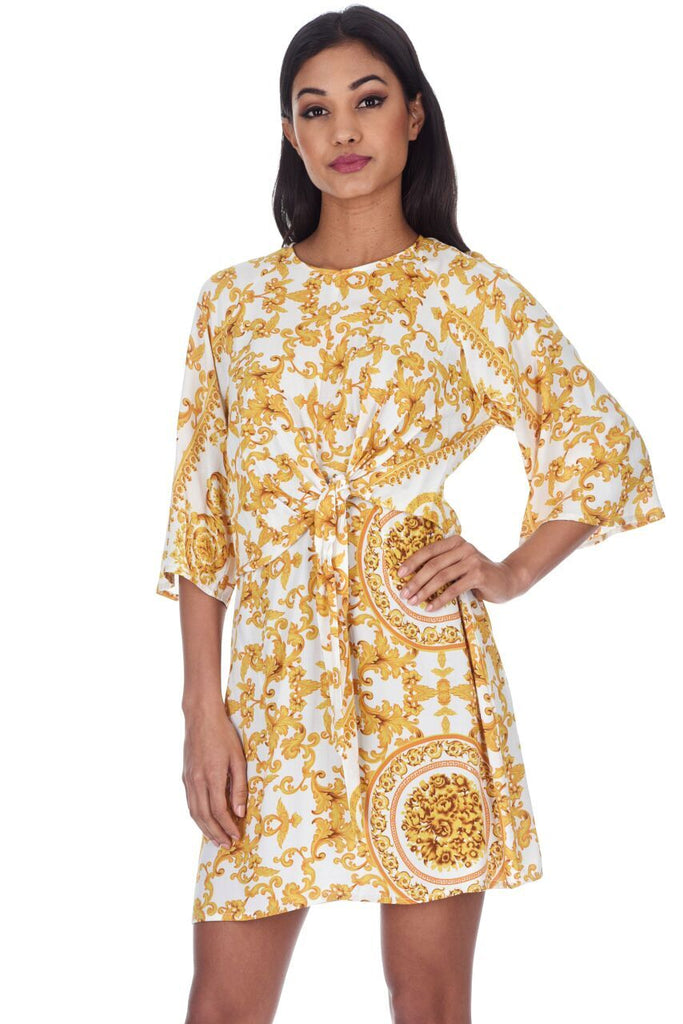 White And Gold Patterned Shift Dress With Flared Sleeves