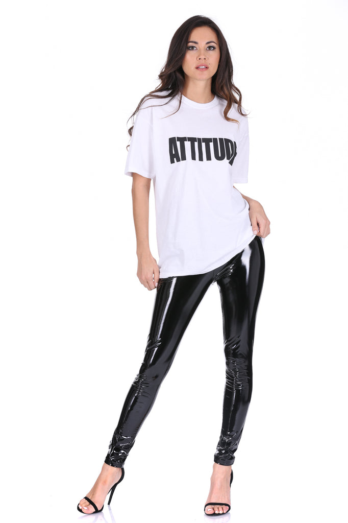 White Attitude Slogan T-Shirt