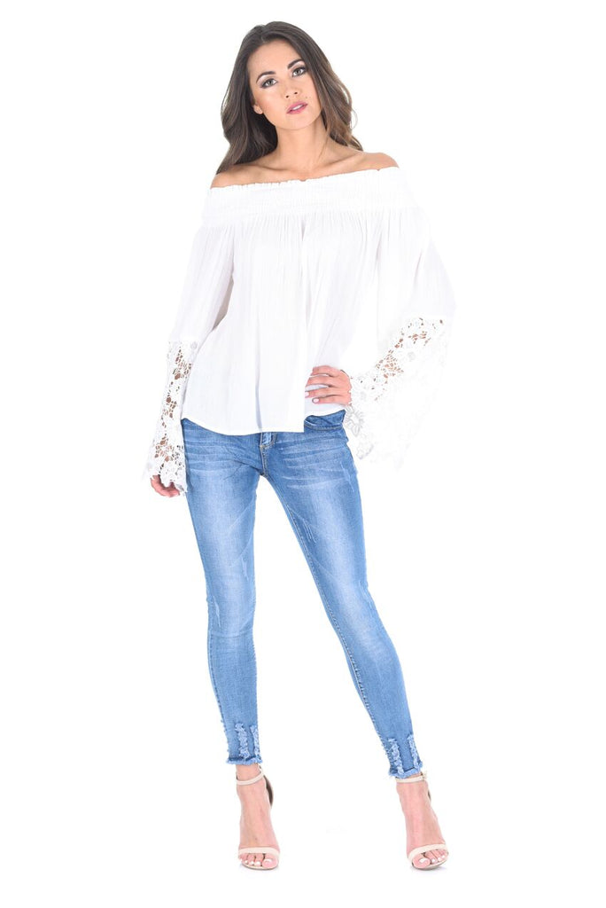 White Bardot Top with Crochet Sleeves