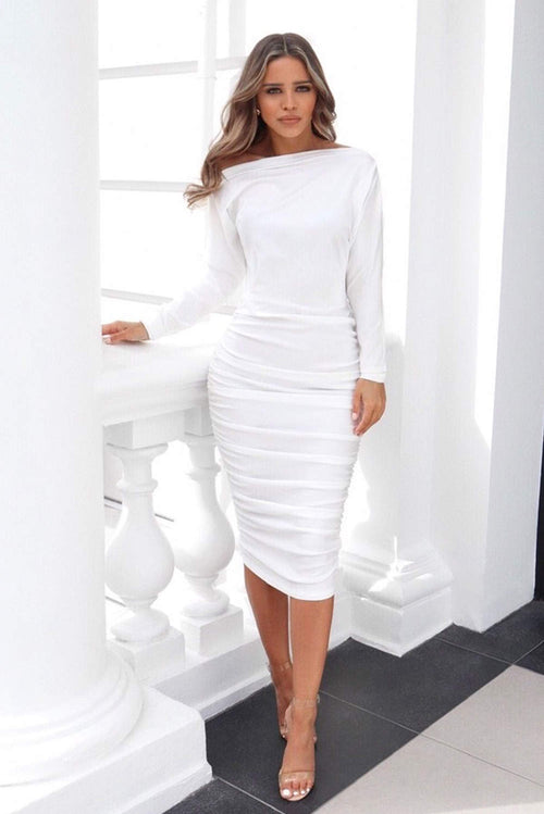 2930a6f06e White Boat Neck Dress With Ruched Detail