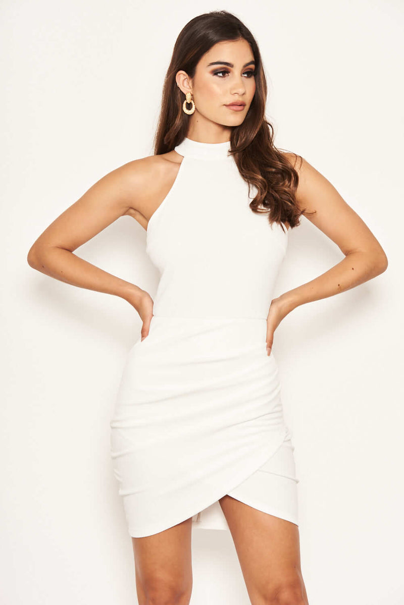 White Bodycon High Neck Ruched Dress