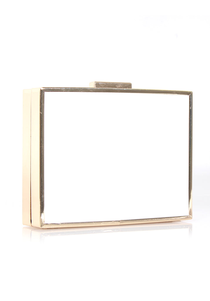 White Box Clutch bag with Gold Detail