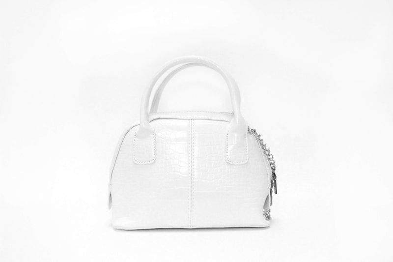 White Croc Mini Bag With Silver Chain Strap