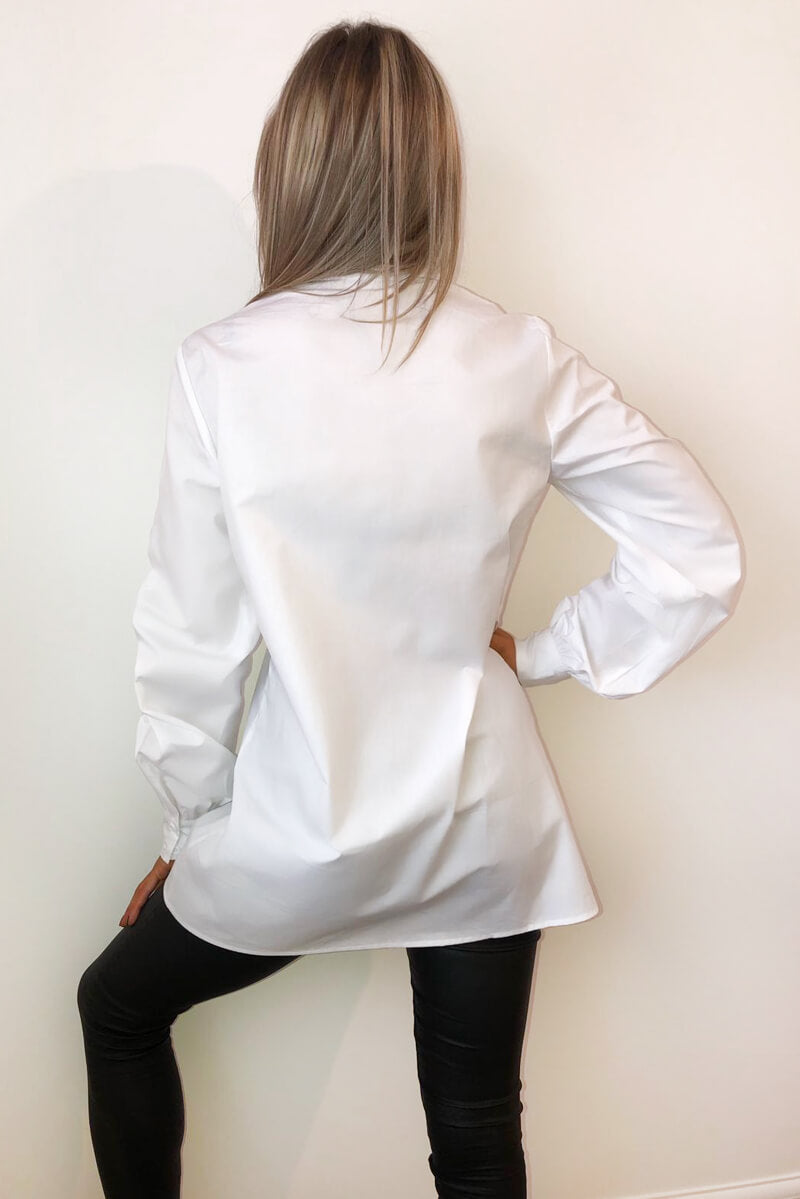White Elasticated Sleeve Button up Dress