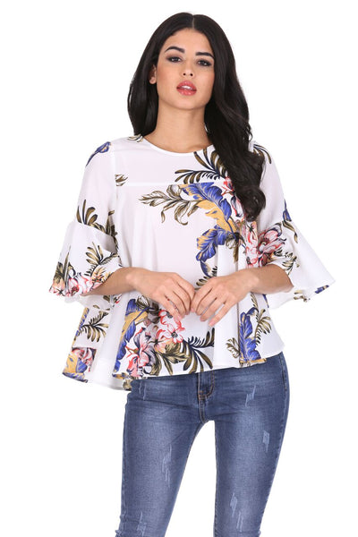 Cream Floral Flared Sleeves Top
