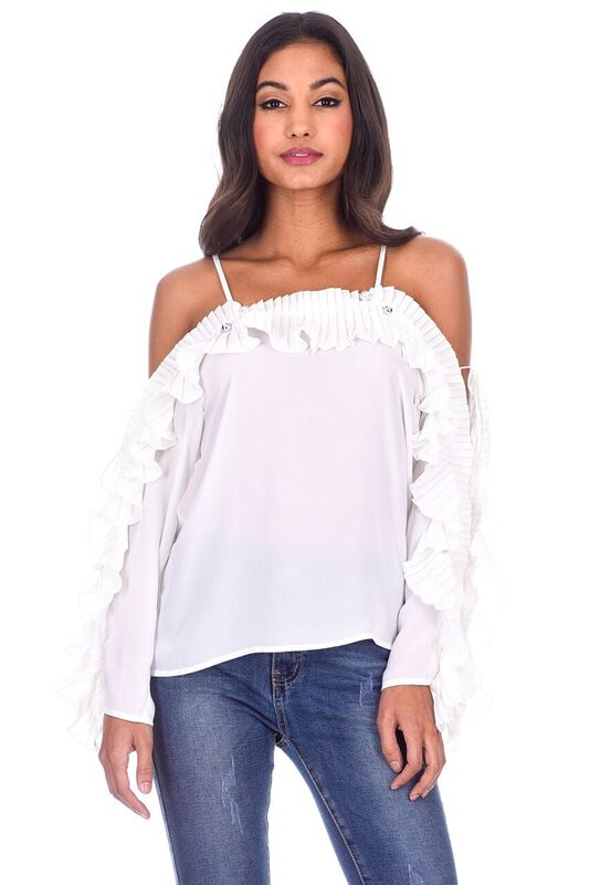 White Frill Detail Off The Shoulder Top