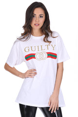 White Glitter Guilty Slogan Top