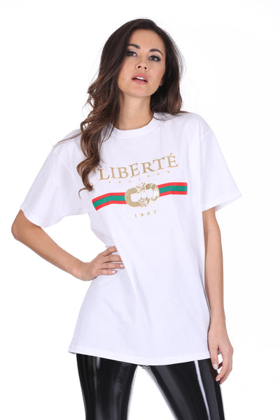 White Liberte Printed T-Shirt