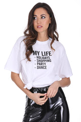 White My Life Slogan T-Shirt