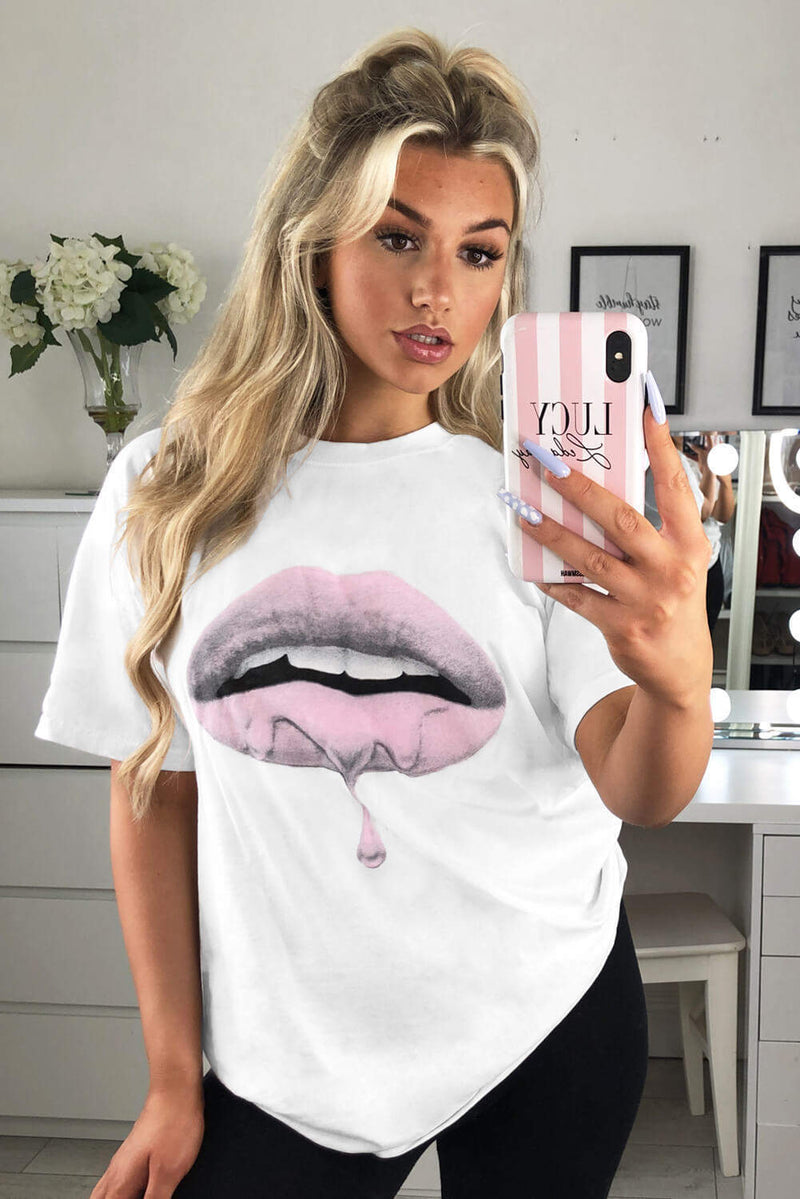 White Pink Lip T-Shirt