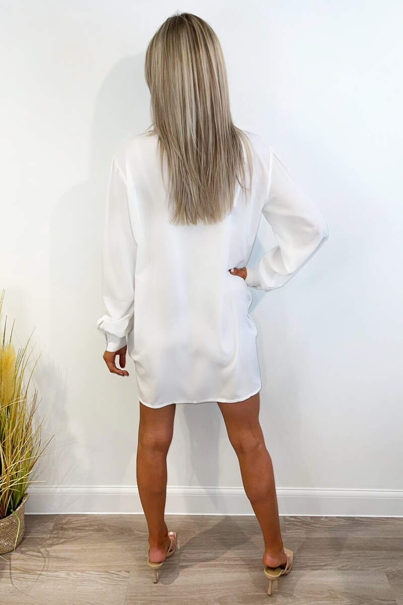 White Ruched Front Shirt Dress