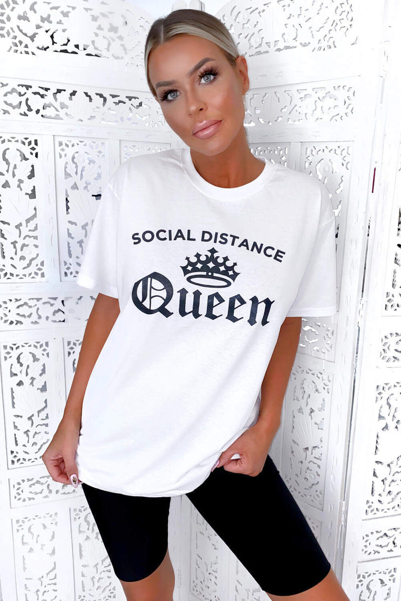 White Social Distance Queen Tee