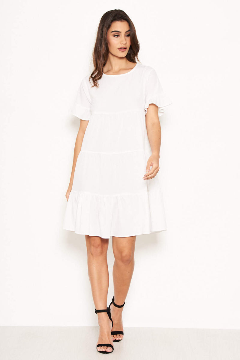 White Tiered Frill Dress