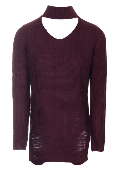 Wine Choker Ladder Cable Knit Jumper