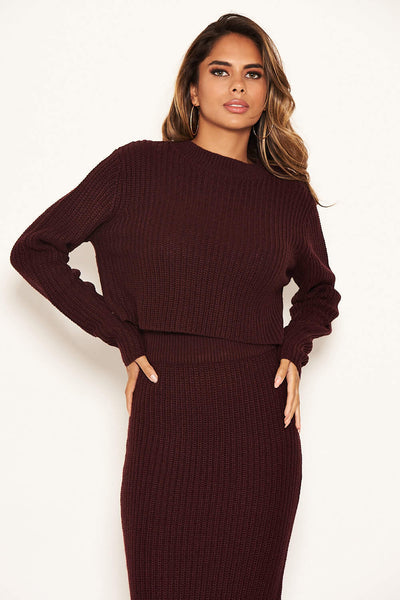 Wine Cropped Knitted Jumper