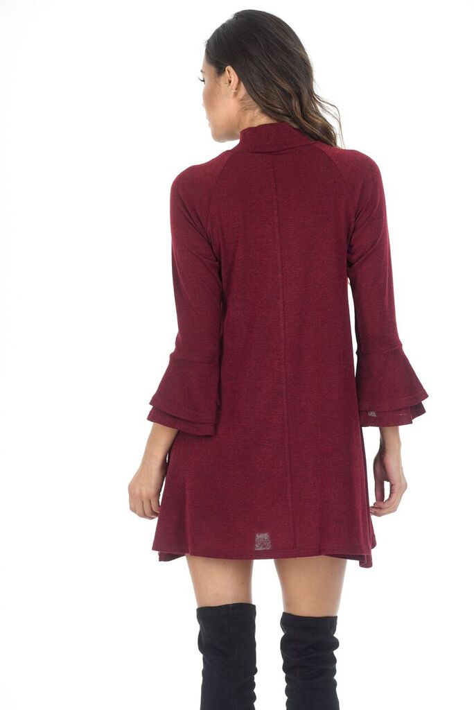 Wine High Neck A-line Dress With Flared Cuffs