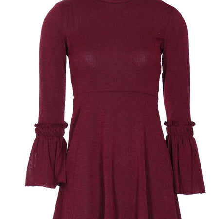 Wine High Neck Bell Sleeve Tunic
