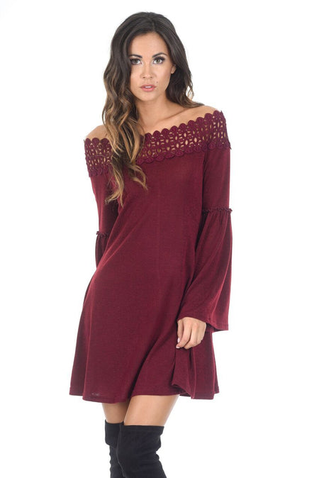 Red Bardot Ruffle Detail Knit Dress
