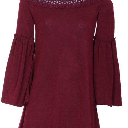 Wine Off The Shoulder Frill Swing Dress