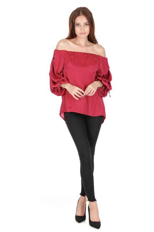 Wine Off The Shoulder Sleeve Detail Top