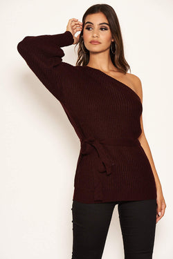 Wine One Shoulder Tie Waist Knit Jumper