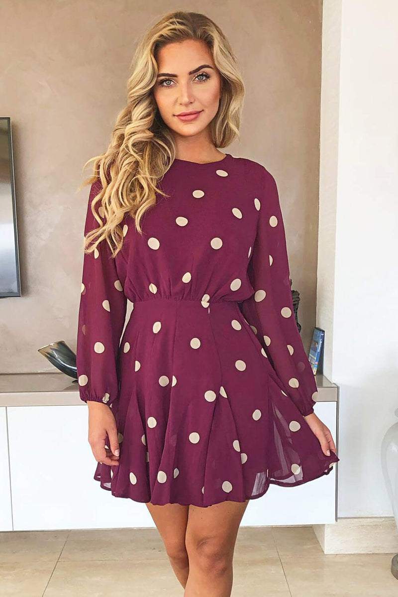 Wine Spotty Pleated Skirt Dress