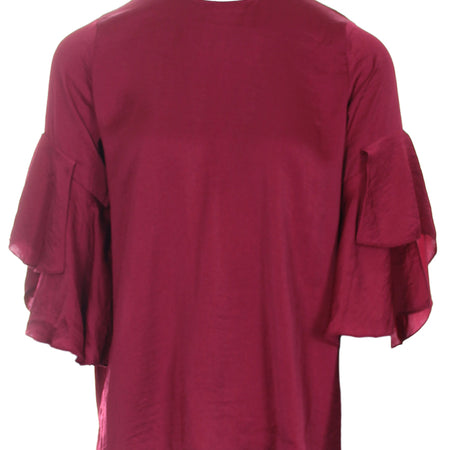 Wine Frill Sleeve Top