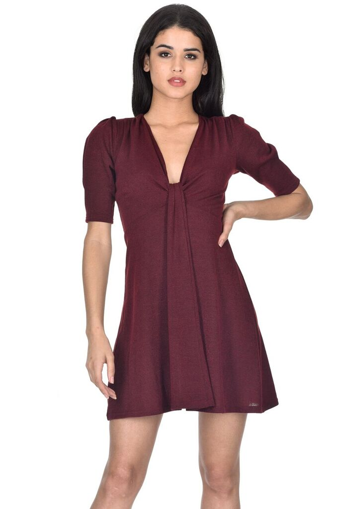 Wine Knitted Knot Front Dress