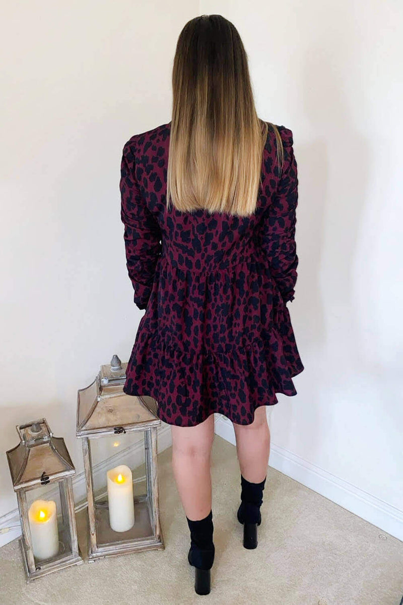 Wine Printed Ruched Sleeve Swing Dress