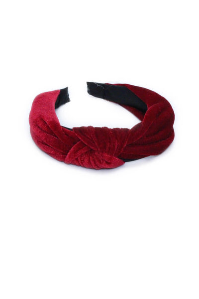Wine Velvet Knot Headband