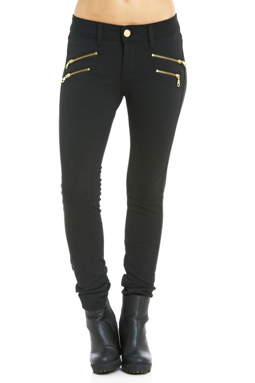 Gold Zip Black Jeans