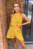 Yellow Floral High Neck Playsuit