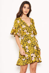 Yellow Animal Print Dress With Floral Detail
