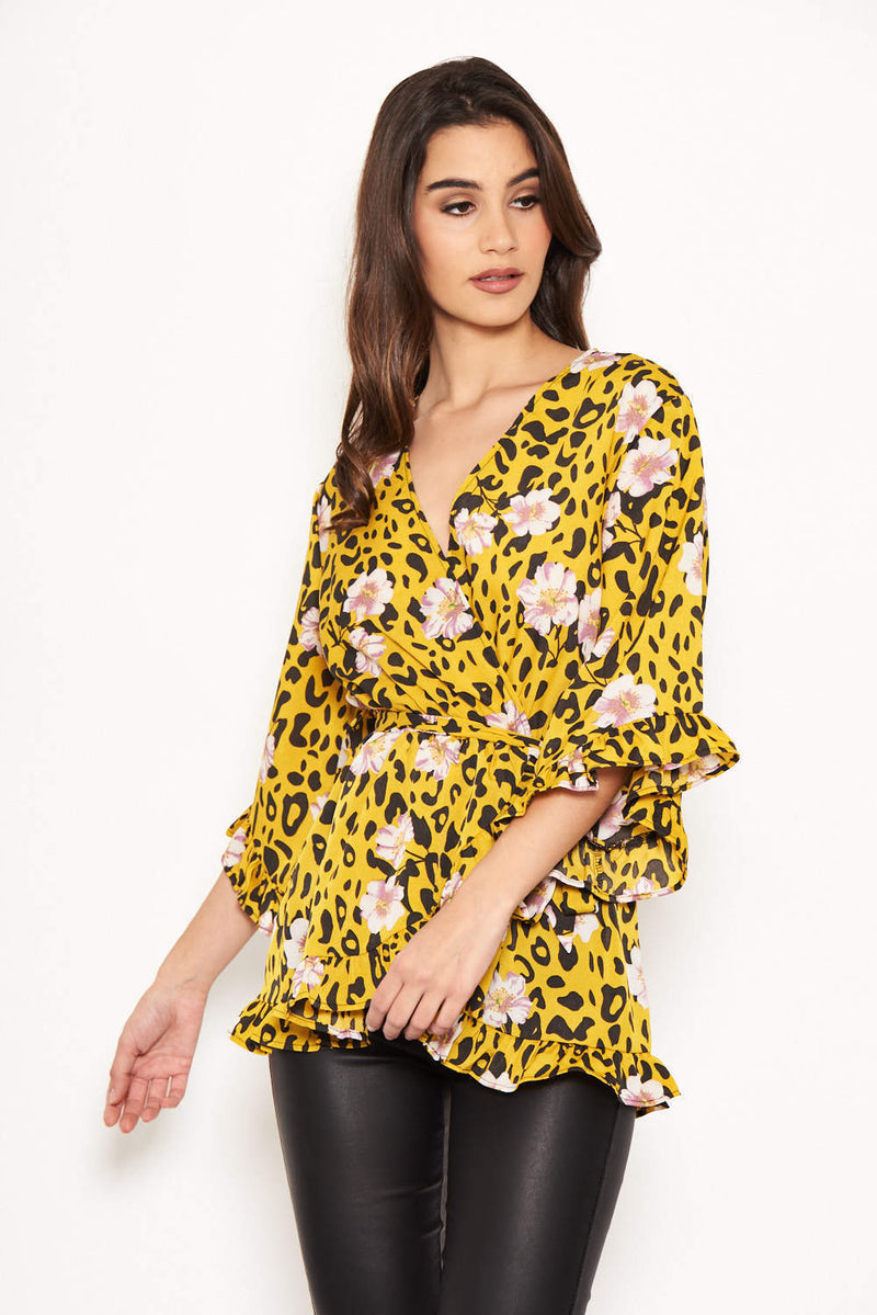 Yellow Animal Print Wrap Top